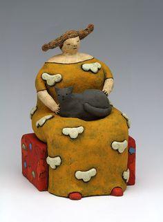 ceramic figure cat cloud by Sara Swink Ceramic Clay, Ceramic Painting, Porcelain Ceramics, Ceramic Pottery, Ceramic Figures, Clay Figures, Ceramic Artists, Ceramic Sculpture Figurative, Sculpture Clay