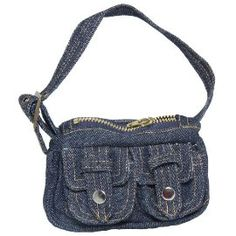 Darling denim purse with a top zipper and front snap pockets is the perfect edition to your doll's every day wardrobe.