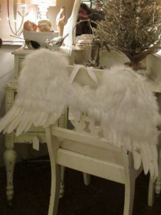 Angel wings White Houses, Angel Wings, Home Collections, Open House, Chair, Christmas, Furniture, Home Decor, White Homes