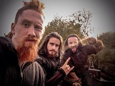 """Clive Standen @CliveStanden · Feb 1 Most Valued #Vikings today are: """"The Berserk Bros."""" Paul,Mark & Gerard #MVV shout out to #VikingsSupportingArtists"""