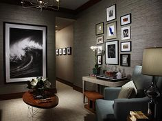 GRAY LIVING ROOM WITH WALL ART.  WAVE