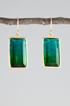 """Bicolor blue and green tourmaline earrings; approximately 7/8"""" x 1/2"""""""