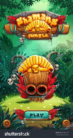 Jungle Shamans Game User Interface Play Window Screen. Vector Illustration For Web Mobile Video Game. - 387884137 : Shutterstock