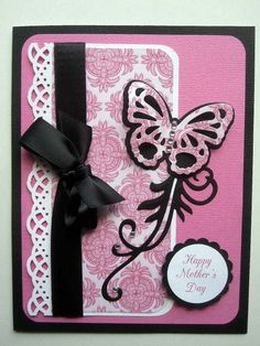 handmade card ... rose pink with black and white accents ... luv the color contrasts and the layered die cut butterfly ...