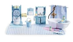 Calico Critters is a girl's toy collection of adorable animal figurines that come with cute playhouses and accessories. Master Bedroom Set, Master Bathroom, Bathroom Accessories Sets, Bathroom Sets, Shampoo Bottles, Bathroom Carpet, Thing 1, Toys Online, Imaginative Play