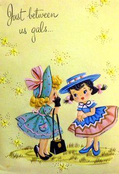 Full Images- Feather- Girls w/ Secrets Vintage Greeting Card Decoupage Vintage, Vintage Ephemera, Vintage Paper, Vintage Postcards, Vintage Birthday Cards, Vintage Greeting Cards, Vintage Christmas Cards, Vintage Valentines, Vintage Holiday
