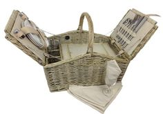 Double Lidded 4 Person Picnic Basket Beachcrest Home Vintage Picnic Basket, Wicker Picnic Basket, Picnic Hampers, Picnic Backpack, Picnic Cooler, Online Bags, Black And Brown, Tote Bag, Leather