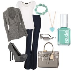 That light mint/teal is driving me insane this season. I am dying for a mint-colored handbag but can't find one within reason. I still love this outfit with the gray and teal:)