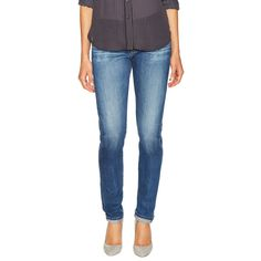 AG Adriano Goldschmied Nikki Skinny Jean ($89) ❤ liked on Polyvore featuring jeans, blue, torn skinny jeans, destructed skinny jeans, ripped skinny jeans, blue jeans and torn jeans