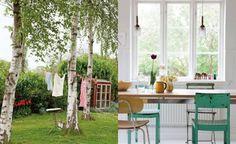 tvätt på tork på lina mellan björkar, köksbord med stol