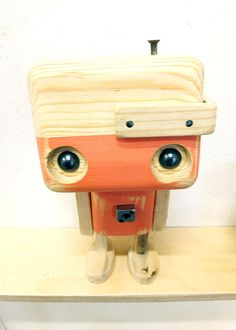 Recycled wooden robot pastel pink