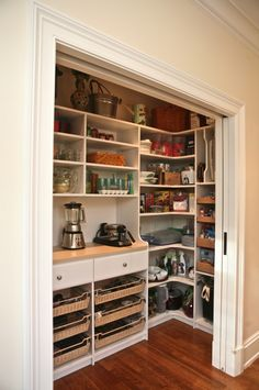 What can be stored in a kitchen pantry? Whatever you want: jams, pickles, pastas, sauces, cookbooks, wines, and all other kinds of food that can be stored without a fridge and household supplies. You can even put a washing machine, an iron and an ironing board there if you haven't a dedicated laundry room. There...