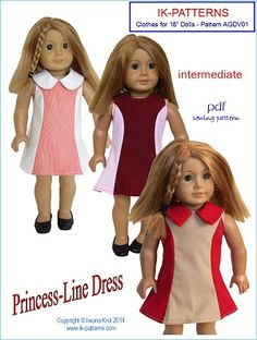 Princess Line Dress Pattern for American Girl Doll