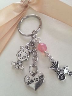 Cute  Mum to be  Charm Keyring - Baby Girl + Pram - Baby Shower Gift - Bag Charm