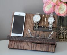 A personal favorite from my Etsy shop https://www.etsy.com/listing/235184443/oak-wood-valet-iphone-galaxy-charging