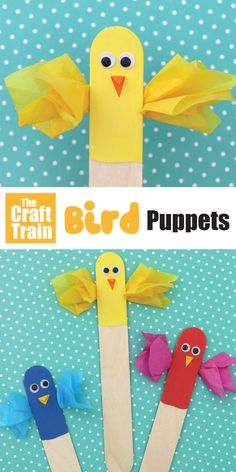 Easy bird puppet idea mad from craft sticks #birdpuppet #bird #craftsticks #popsiclesticks #kidscrafts #animalcrafts #thecrafttrain