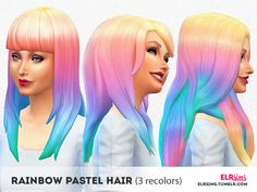 Rainbow Pastel Hair #thesims4 cc