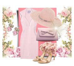 """Pink dress & summer hat"" by fashionrushs ❤ liked on Polyvore featuring Hervé Léger, Juicy Couture, Rupert Sanderson, BCBGeneration and summerhat"