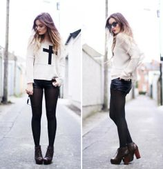 sweater, hot pants, stocking, and heels