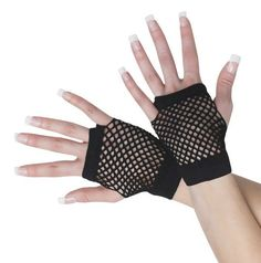Womens Black Fishnet Gloves Short Fingerless Mesh Glovettes 80s Pair Eighties