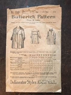 Antique Butterick Sewing Pattern 1328 Winter Coat Jr Girl Bust 27 Victorian 1898