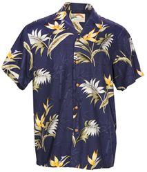 Bamboo Paradise - Men's Hawaiian Aloha Shirt - Navy