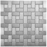 "Found it at Wayfair - Metallic 11.75"" x 11.75"" Stainless Steel Over Porcelain Mosaic Tile in Silver"