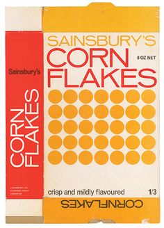 circa 1960's. wow, i hate corn flakes, but if they sold them in a box designed like this, i would buy it in a heartbeat!