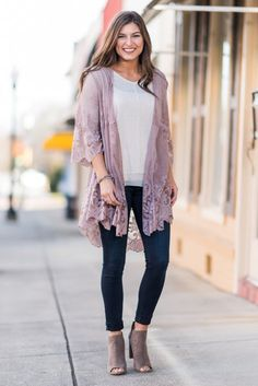 """Keep the Romance Alive Kimono, Mauve"" This kimono will surely keep the romance alive! Well, we can't make any promises where your love life is concerned but as far as the love you have for your wardrobe, that love will be alive and well! #newarrivals #shopthemint"