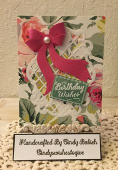 Birthday Card / Made with Anna Griffin All Hearts Die Cutting Set and Bow Set / Handcrafted By Cindy Babich (Cindyswishestogive 2016)