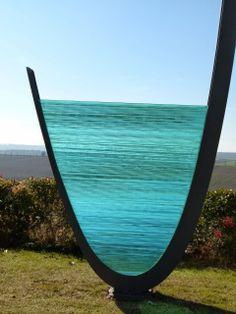Costas Varotsos Modern Sculpture, Sculpture Art, Fused Glass, Stained Glass, Costa, Greek Art, Public Art, Surfboard, Famous People