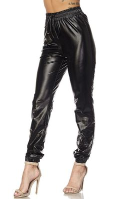 Faux Leather PU Jogger Pants with Drawstring (Plus Sizes Available) -- Details can be found by clicking on the image. (This is an affiliate link) #JoggerPants