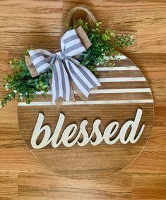 Blessed Door Hanger RTS – The Rustic Peach Mason Jar Kitchen Decor, Mason Jars, Wall Spaces, Door Hangers, Door Wreaths, Create Your Own, Farmhouse Door, Blessed, Peach