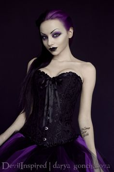 179.00 Ruffled Trim Black Corset and Short Purple and Black Ball Gown  Skirt Two Piece Dress - Queen Devil 74ab4d818
