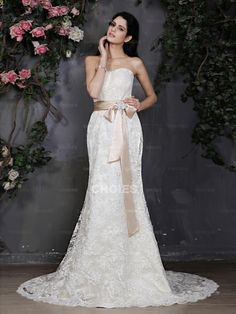 A-line Strapless Empire Beading Ruched Chiffon Wedding Dress (something on the shoulders, though)