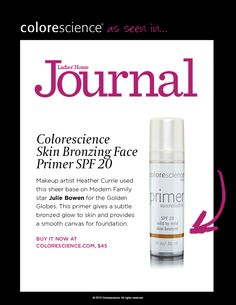 836ad422559 Colorescience Skin Bronzing Face Primer SPF 20 featured in the April issue  of Ladies Home Journal sold Medical Spa & Weight Loss Clinic