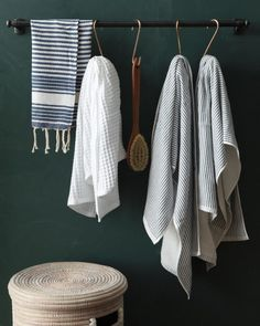 Indispensable in the kitchen (for hanging pots) and the garage (for hanging tools), oversize S hooks are just as handy in the bathroom: They let you hang more towels than a single rod allows.