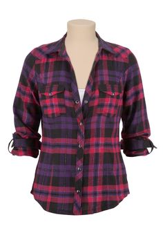 Maurices: Flannel Plaid Shirt with Lurex