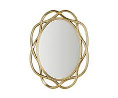 Specchio da parete in poliuretano e vetro oro James, 102x127x6 cm