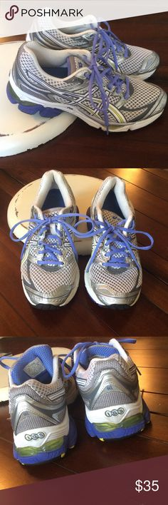 Asics Tennis Shoes White mesh with gray trim.  A hint of yellow stripe and periwinkle color shoe strings. Excellent condition no flaws. asics Shoes Athletic Shoes