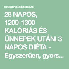 28 NAPOS, 1200-1300 KALÓRIÁS ÉS ÜNNEPEK UTÁNI 3 NAPOS DIÉTA - Egyszerűen, gyorsan, jót!