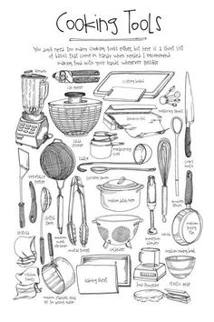 Cooking Tools - illustrated by Lucy Engelman *great handout idea for teaching kitchen tools Practicum in Culinary Arts TEKS 10 (E) use large and small equipment in the commercial kitchen. Culinary Classes, Culinary Arts, Cooking Classes, Cooking Equipment, Cooking Tools, Cooking Websites, Cooking Corn, Cooking 101, Cooking Videos
