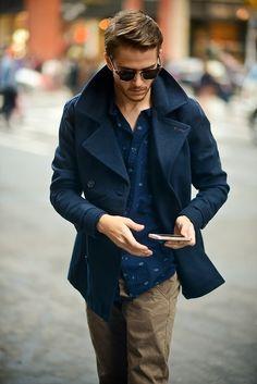 Blue peacoat, blue button down, khakis