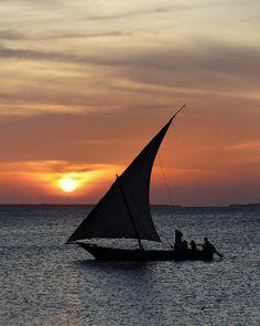 Dhow Sailing, Kendwa Beach, island of Zanzibar, Tanzania.  Photo: Rob Kroenert, via Flickr beautiful sunset.