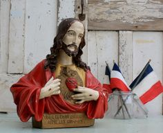 Large French Vintage Chalkware Bust of Jesus, Sacred Heart, Decorative Religous, Religous Collector by Restored2bloved on Etsy