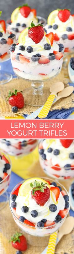 Lemon Berry Yogurt Trifles - layers of Yoplait Greek 100 lemon and mixed berry yogurt, angel food cake and fresh berries! Such an easy and delicious snack!