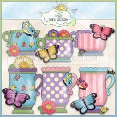 Grandma's Butterfly Garden Teacups 1 - NE Cheryl Seslar Clip Art