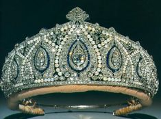 Princess Marie Louise's Indian Tiara, United Kingdom (prob. early 1900's; made by Cartier; sapphires, pearls, diamonds). It mimics the style of Indian jewels.