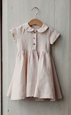 Pastel Pink Linen Baby Dress | Etsy