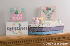 Deck out the nursery in oh-so-sweet DIY decor! To DIY: Cut your favorite designs out of patterned paper packs and glue them to painted wood canvases. Wood Home Decor, Diy Home Decor, Paper Packs, Little Blessings, Wood Canvas, Painted Wood, Hobby Lobby, Canvases, Painting On Wood